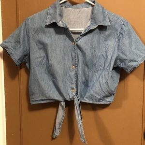 American Apparel crop denim top knot front size: M